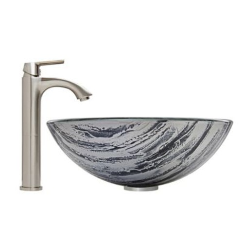 Vigo Rising Moon Vessel Sink and Otis Faucet Set in Brushed Nickel