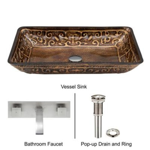 VIGO Rectangular Glass Vessel Sink in Golden Greek with Wall-Mount Faucet Set in Brushed Nickel