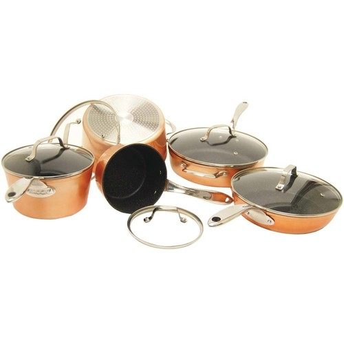 The Rock By Starfrit 030910-001-0000 The Rock By Starfrit 10-Piece Copper Cookware Set