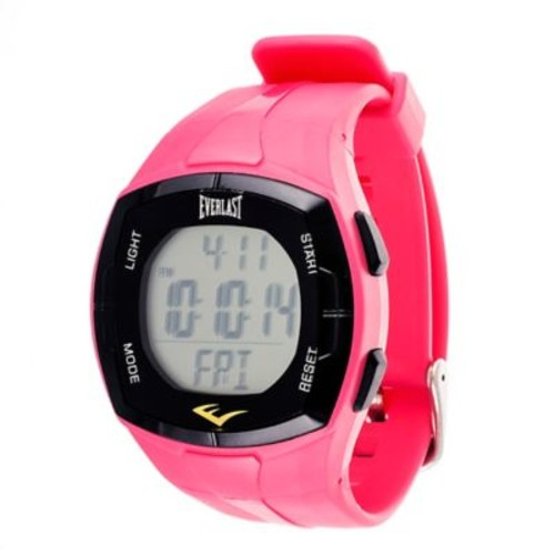 Everlast 40mm HR2 Heart Rate Monitor Watch in Black Plastic w/Pink Rubber Strap