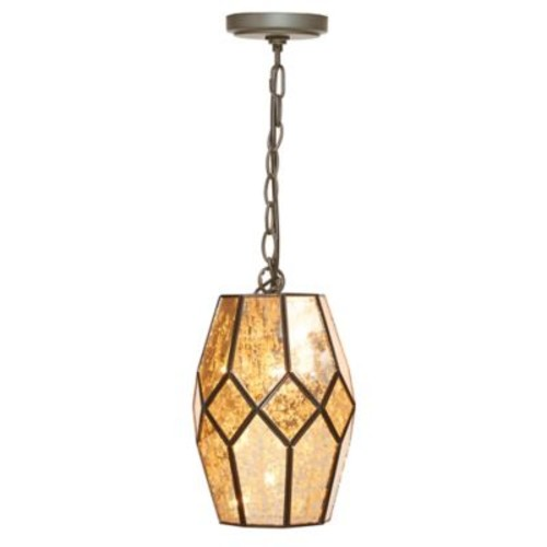 Madison Park Julia Glass Pendant in Bronze with Metal Shade with CFL Bulb