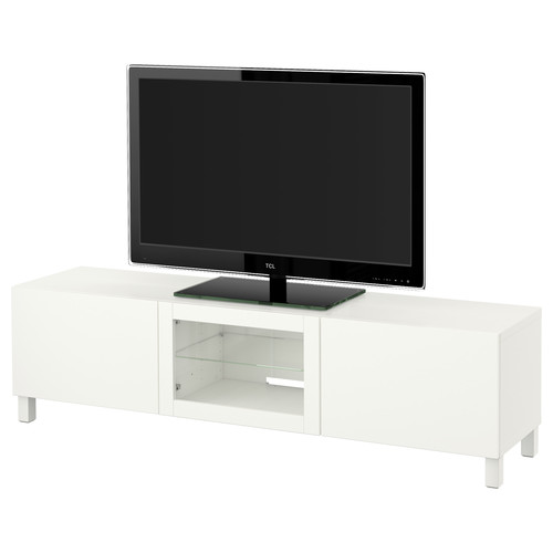 BEST TV unit with drawers and door, Lappviken white clear glass [drawer : drawer runner, soft-closing]