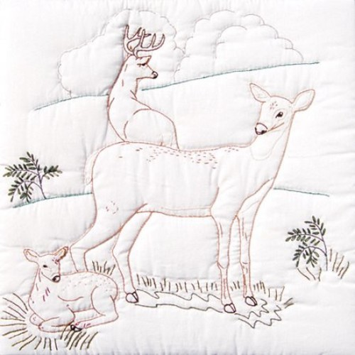 Jack Dempsey Needle Art 732199 Deer Family 6-Quilt Block, 18-Inch by 18-Inch, White [Deer Family]