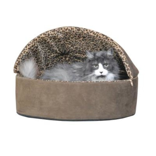 K&H Pet Products Thermo-Kitty Deluxe Large Mocha Leopard Hooded Heated Cat Bed