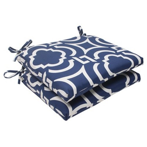 Outdoor 2-Piece Square Seat Cushion Set - Blue/White Geometric