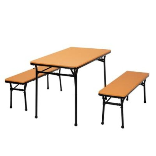 Cosco 3-Piece Orange Folding Table and Bench Set