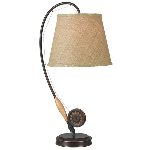 Kenroy Home Fly Rod 28 in. Oil-Rubbed Bronze Table Lamp with Wood Accent
