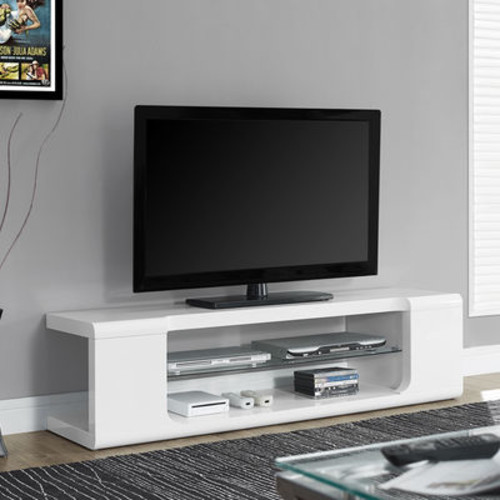 Monarch Specialties TV Console with Tempered Glass Shelf