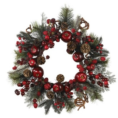 Nearly Natural 22 in. Apple Berry Wreath