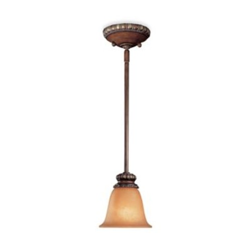 Minka Lavery Belcaro Mini Pendant Light in Walnut with Aged Champagne Glass Shade