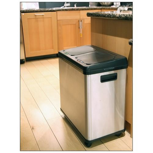 iTouchless - 16-Gallon Dual-Compartment Trash and Recycling Can - Multi