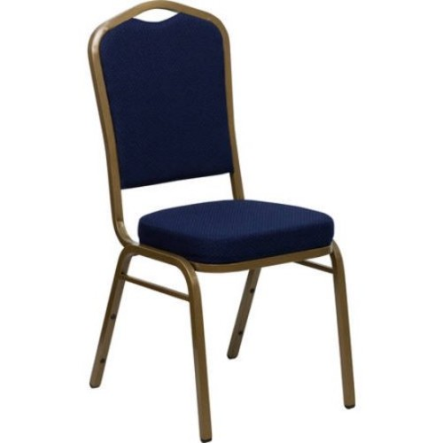 Flash Furniture HERCULES Series Crown Back Stacking Banquet Chair with Fabric and 2.5'' Thick Seat, Gold Frame, Multiple Colors