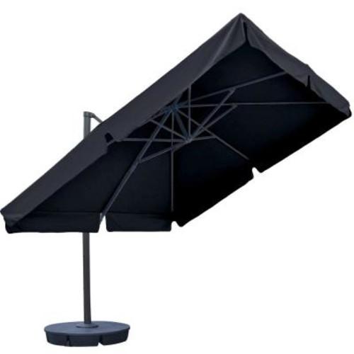Island Umbrella Santorini II 10 ft. Square Cantilever Patio Umbrella with Valance in Black Sunbrella Acrylic