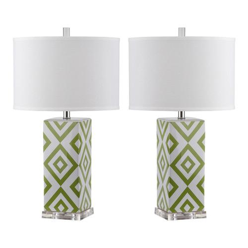 Safavieh Indoor 1-light Green Diamonds Table Lamp (Set of 2)