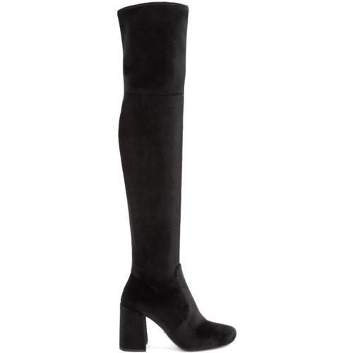 PRADA Black Velvet Over-The-Knee Boots