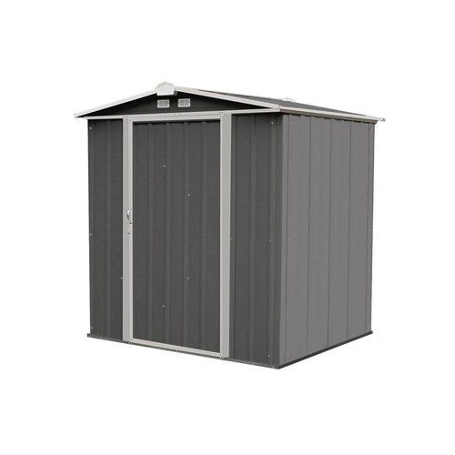 Arrow Ezee Shed 6 ft x 5 ft. Galvanized Steel Charcoal/Cream trim Low Gable