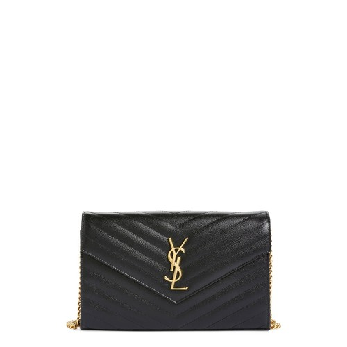 SAINT LAURENT 'Large Monogram' Quilted Leather Wallet On A Chain