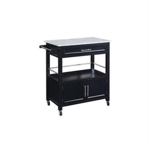 Linon Cameron Kitchen Cart with Granite Top in Black