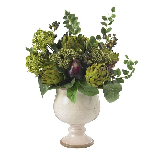 Home Decorative Artichoke and Hydrangea Silk Flower Arrangement