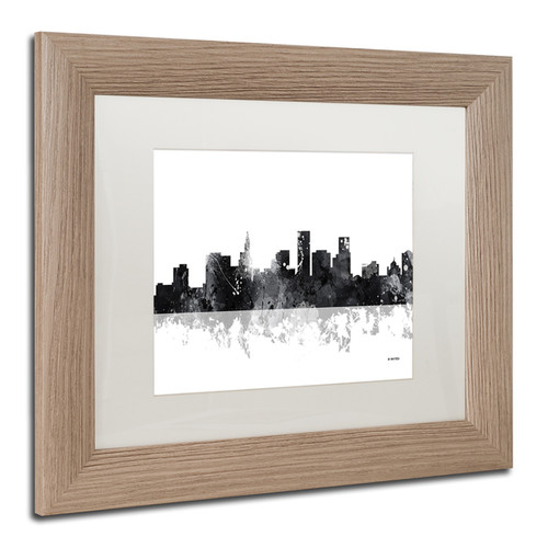 Marlene Watson 'St Paul Minnesota Skyline BG-1' Matted Framed Art [option : 11x14]