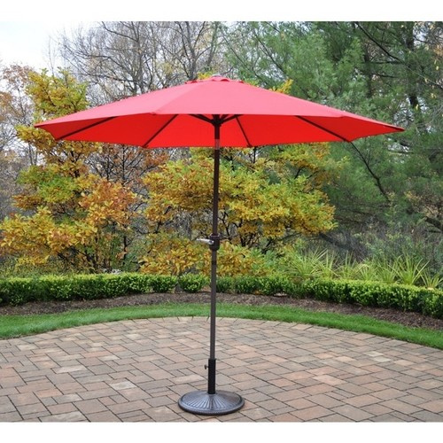 Oasis Crank and Tilt Red/Brown Cast Iron Outdoor Umbrella with Stand