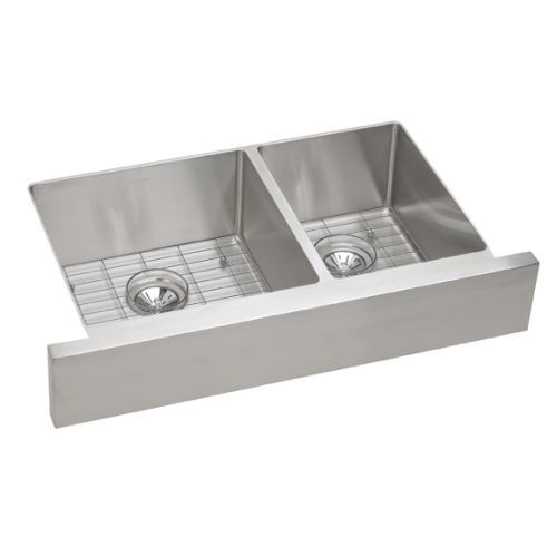 Elkay ECTRUF32179RDBG Crosstown Stainless Steel Double Bowl Apron Front Undermount Sink Kit