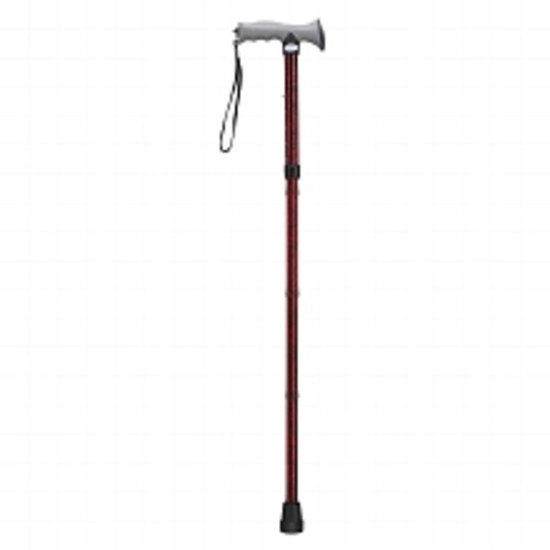 Drive Medical Adjustable Lightweight Folding Cane with Gel Hand Grip Red