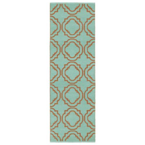 Indoor/Outdoor Laguna Turquoise Medallions Flat-Weave Rug (2'0 x 6'0)