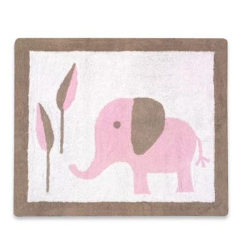 Sweet Jojo Designs Mod Elephant Rug in Pink/Taupe