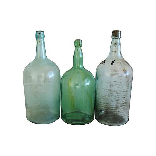 Tall French Demijohn Wine Bottles, S/3