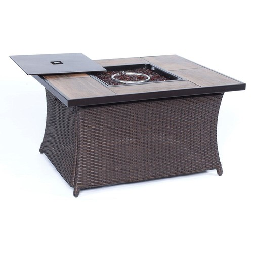 Hanover 9.8 in. Wicker Fire Pit Table in Brown with Woodgrain Tile-Top