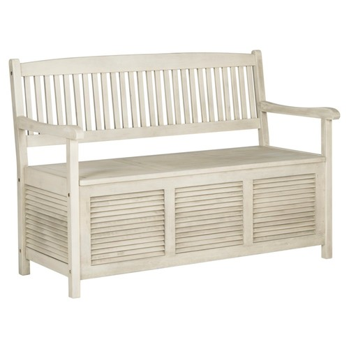 Outdoor Lydia Storage Bench, Off-White