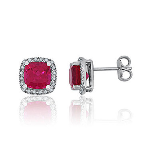 Lab-Created Ruby & White Sapphire Sterling Silver Halo Stud Earrings - JCPenney