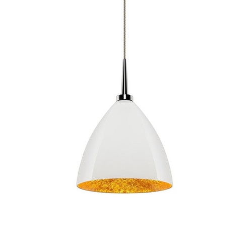 Bruck Lighting Cleo LED 4-inch Canopy Chrome Pendant with White Outer/Gold Inner Glass Shade