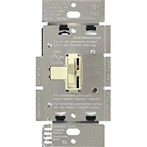 Lutron Toggler Dimmer Switch for Halogen and Incandescent Bulbs, Single-Pole or 3-Way, AY-600P-AL, Almond [Almond]