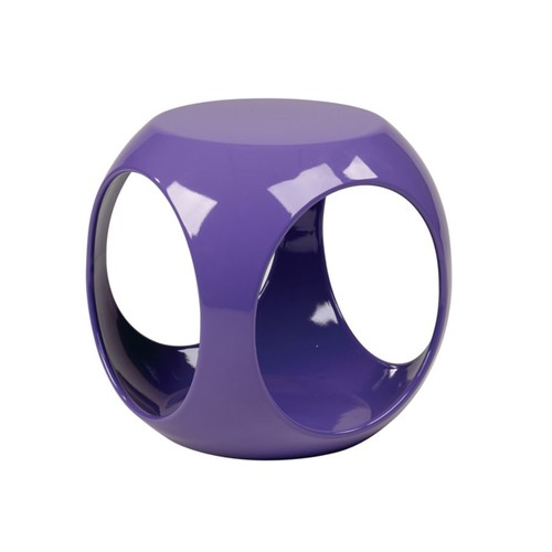 Ave Six Slick Table, Accent, Round, High-Gloss Purple