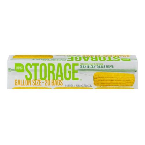 Smart Sense Storage Bags Gallon Size - 20 CT