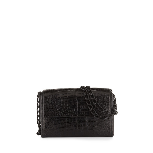 NANCY GONZALEZ Crocodile Small Chain-Strap Shoulder Bag, Black Matte