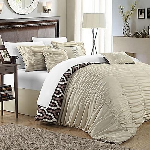 Chic Home Lassie 7-Piece King Comforter Set in Beige