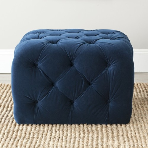 Safavieh Ottomans & Storage Ottomans Safavieh Kenan Navy Blue Ottoman