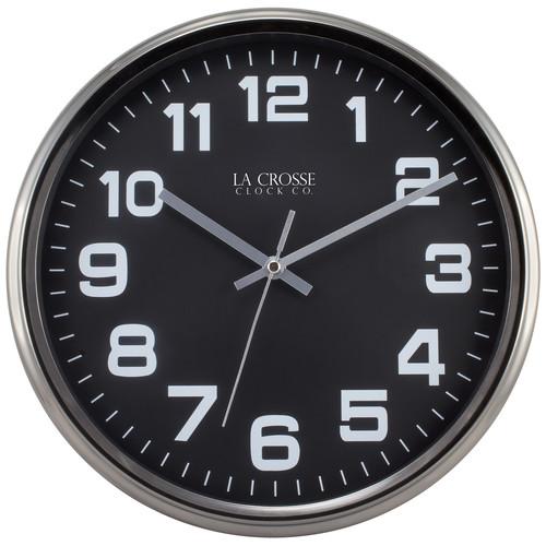 La Crosse Clock 404-2631GM 12 Inch Round Metal Analog Wall Clock with Gunmetal Finish