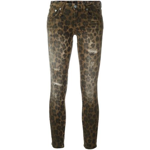 R13 Leopard Print Skinny Jeans
