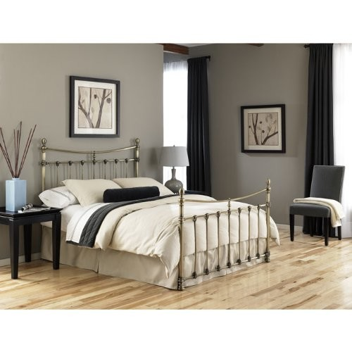 Leighton Metal Headboard with Rounded Posts and Scalloped Castings, Antique Brass Finish, King [King, Traditional]