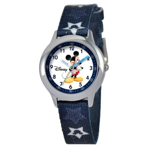 Boys' Disney Mickey Mouse Stainless Steel Time Teacher Watch - Blue