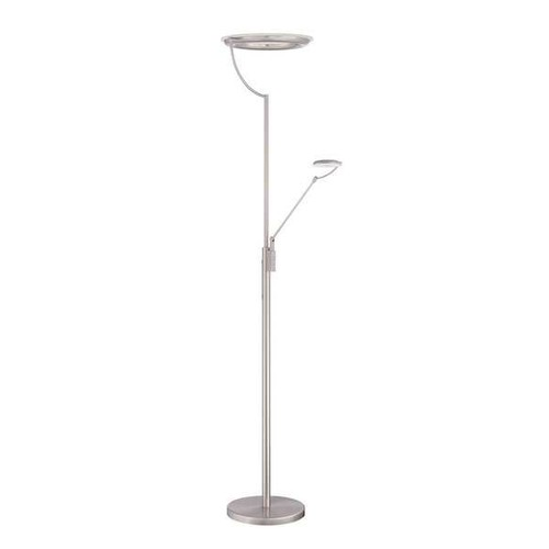 Europa Series Satin Nickel 72-inch LED Torchiere Floor Lamp with Reading Light