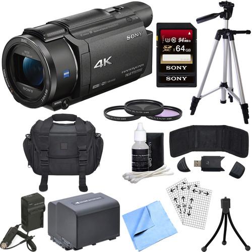 Sony FDR-AX53/B 4K Handycam Camcorder with Exmor R CMOS Sensor Deluxe Bundle