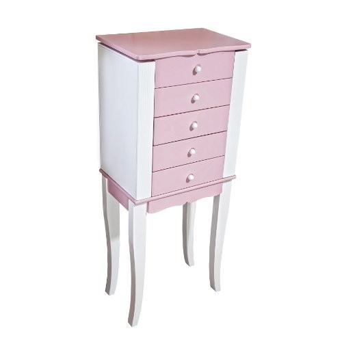 Mele & Co. Louisa Girl's Wooden Jewelry Armoire (Pink/White)