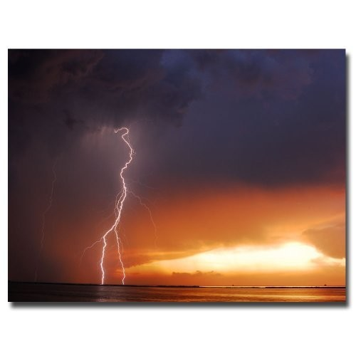 Lightning Sunset IV by Kurt Shaffer, 18x24-Inch Canvas Wall Art [18 by 24-Inch]