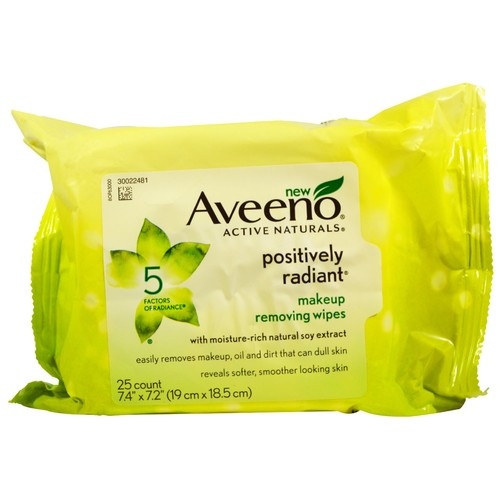 Aveeno Cleansers, Positively Radiant Makeup Removing Wipes