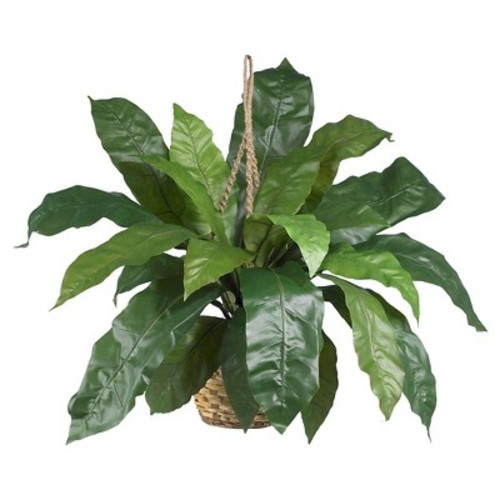 Nearly Natural Large Birds Nest Fern Hanging Basket Green
